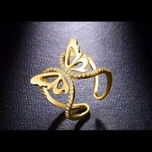18K Gold Plated Butterfly AAA Cubic Zirconia